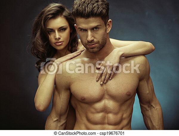 zijn, gespierd, vriendin, mooi, sensueel, man - csp19676701