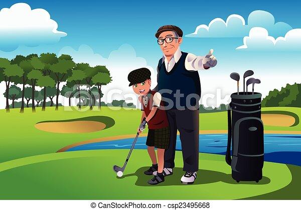 zijn, golf, kleinzoon, grootvader, onderwijs, spelend - csp23495668