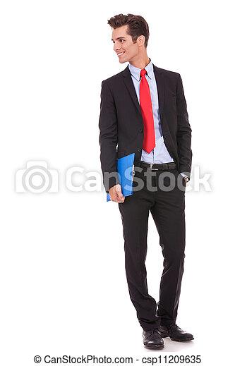 zijn, klembord, zakelijk, het kijken, rechts, bovenkant, man - csp11209635