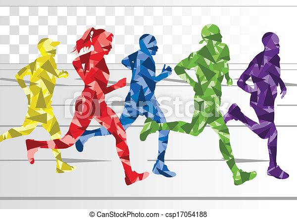 zima, barwny, sylwetka, biegacze, tło, maraton - csp17054188
