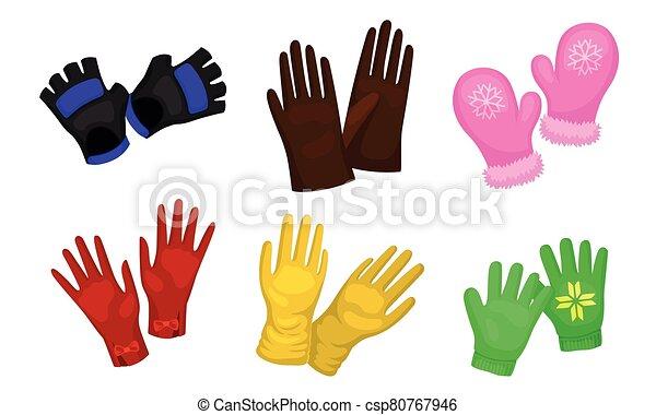 zima, wektor, jesień, różny, handwear, pora, rękawice, rękawiczki, komplet - csp80767946