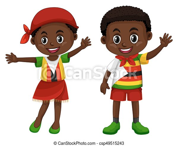 Zimbabwe boy and girl in flag color costume illustration.
