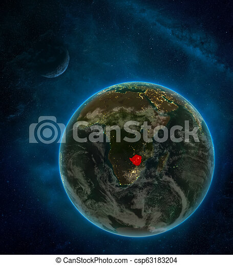 Zimbabwe from space at night - csp63183204