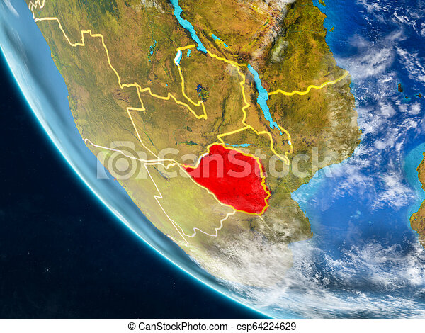 Zimbabwe from space on Earth - csp64224629