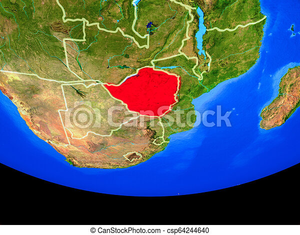 Zimbabwe from space on Earth - csp64244640