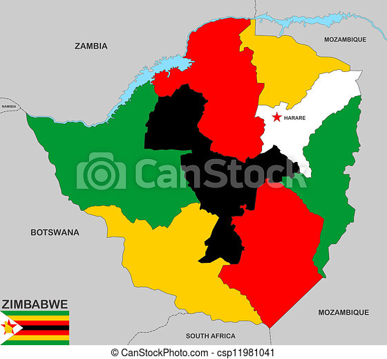 Zimbabwe map Very big size zimbabwe political map with flag drawing