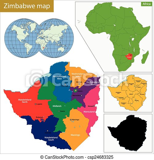 Zimbabwe Map Administrative Division Of The Republic Of Vector - Republic of zimbabwe map