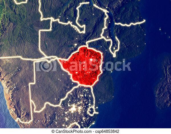 Zimbabwe on Earth at night - csp64853842