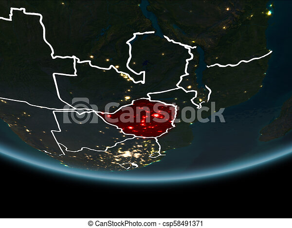 Zimbabwe on Earth from space at night - csp58491371