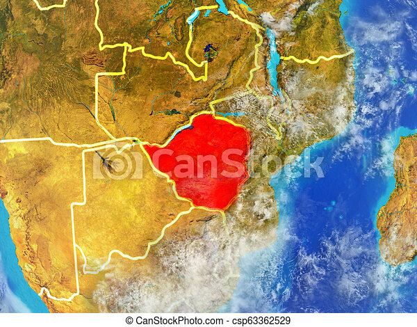 Zimbabwe on Earth from space - csp63362529