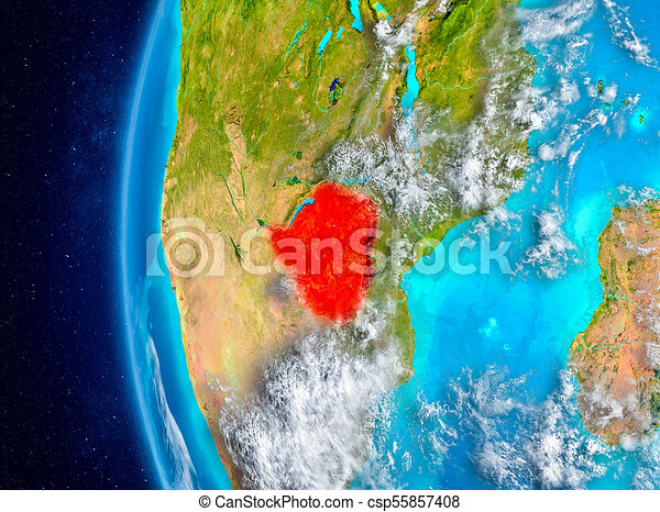 Zimbabwe on Earth from space - csp55857408