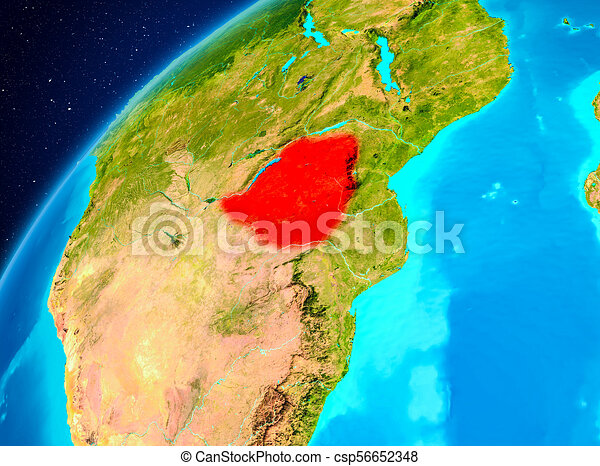 Zimbabwe on Earth from space - csp56652348