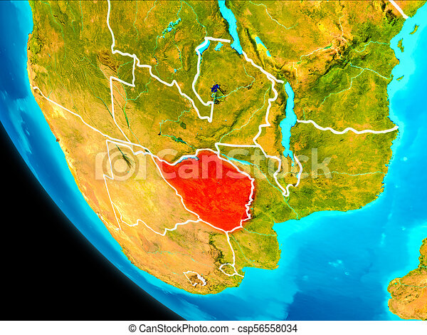 Zimbabwe on Earth from space - csp56558034