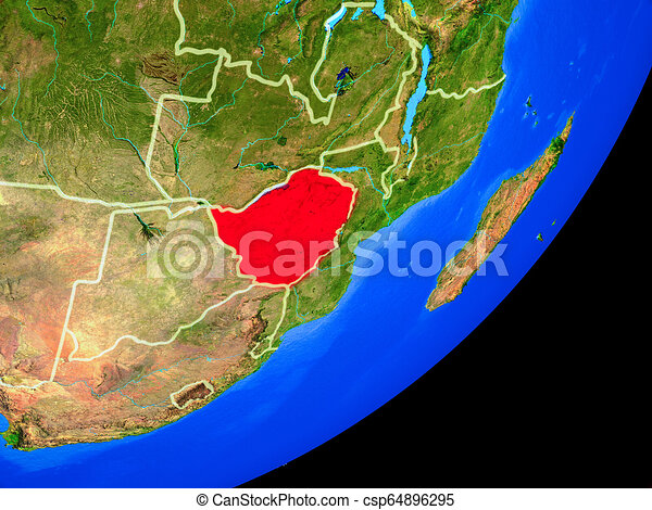 Zimbabwe on Earth from space - csp64896295