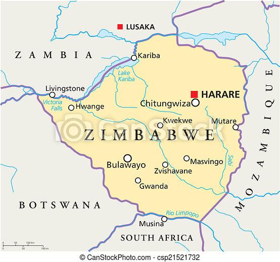 Zimbabwe political map Political map of zimbabwe with vectors