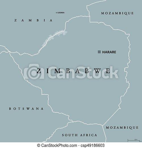Zimbabwe political map with capital harare international vector