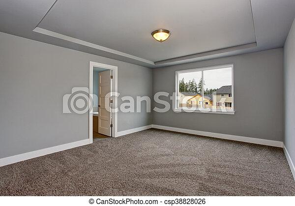 Zimmer Boden Grau Fenster Kellergeschoss Leerer Teppich