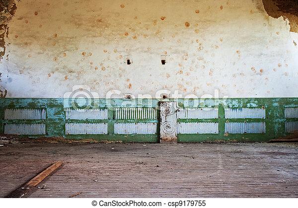 Stock Foto   Zimmer, Boden, Hölzern, Gemalte Wand, Verlassen