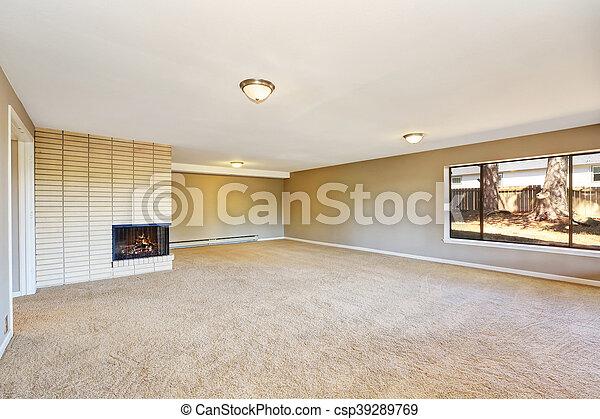 Zimmer Floor Beige Kaminofen Leerer Teppich Zimmer