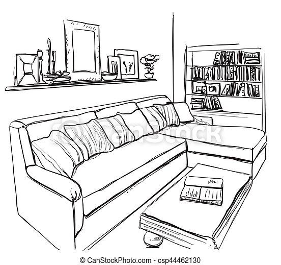 Sofa gezeichnet  Zimmer, furniture., sofa, hand, inneneinrichtung,... Vektoren ...