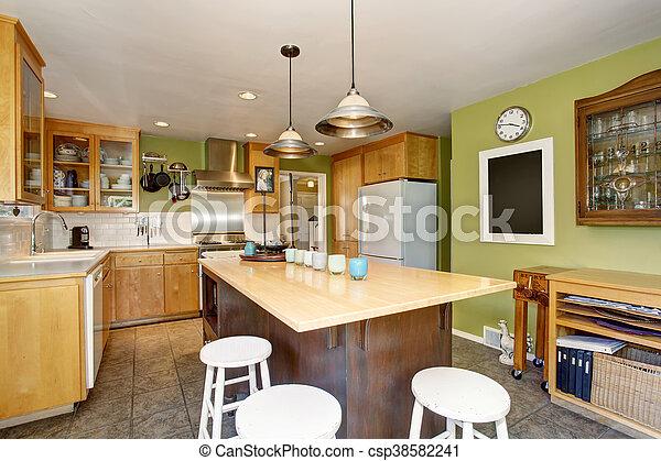 Kühlschrank Groß : Zimmer insel hölzern kühlschrank groß wände grün