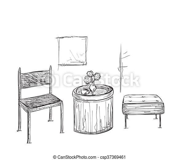 Stuhl gezeichnet  Clipart Vektorbild von zimmer, lamp., hand, interior., gezeichnet ...
