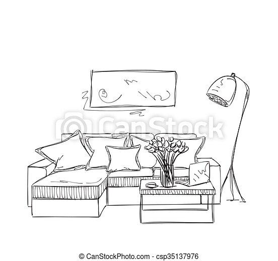 Sofa gezeichnet  Zimmer, sofa., hand, inneneinrichtung, gezeichnet, sketch ...