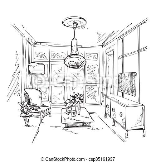 Stuhl gezeichnet  Vektorbilder von zimmer, sofa, hand, inneneinrichtung, gezeichnet ...