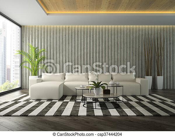 zimmer, sofa, modern, übertragung, design, inneneinrichtung, weißes, 3d - csp37444204