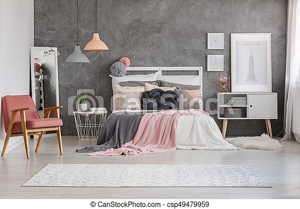 Zimmer Teppich Cozy Boden Gross Bett Muster Hell