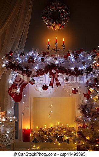 Weihnachtsbeleuchtung Kranz.Zimmer Weihnachtsbeleuchtung Inneneinrichtung Nacht Dekoriert Kaminofen Weihnachten