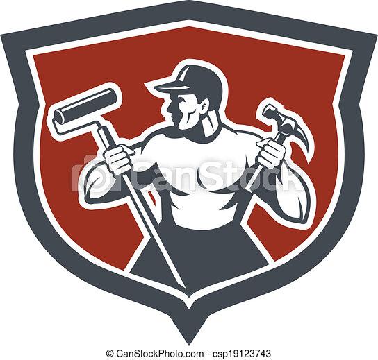zimmermann, farbe, lackierer, halten, hammer, rolle - csp19123743