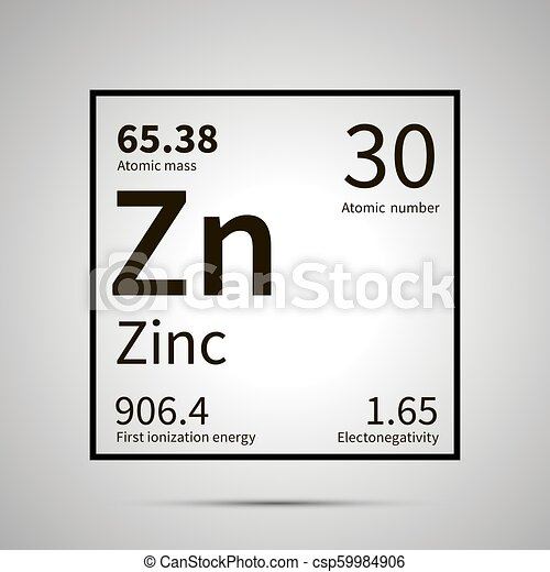 zinc chemical element with first ionization energy atomic mass and electronegativity values simple black