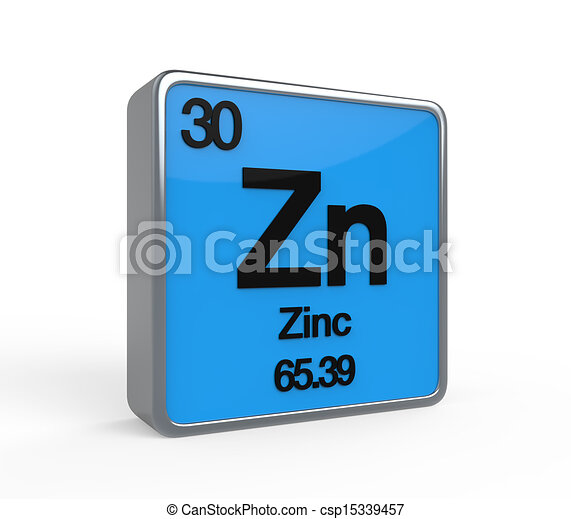 Zinc element periodic table isolated on white background. 3d render.
