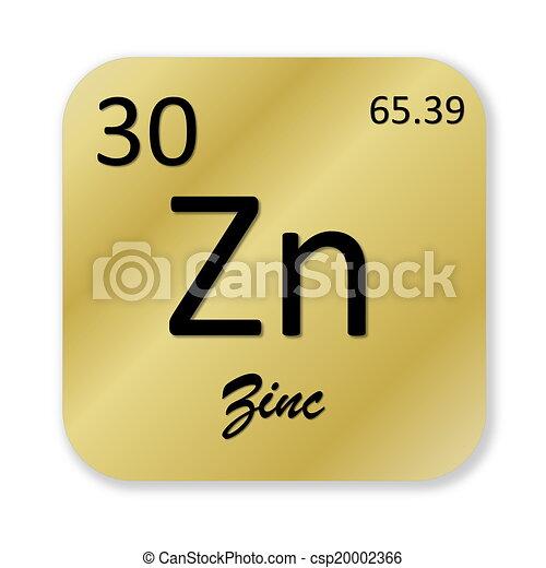 Zinc Element Black Zinc Element Into Golden Square Shape Isolated