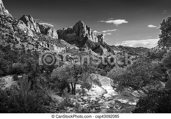 Zion Canyon In black and White - csp43092085