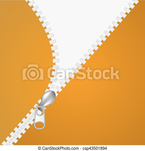 Zip closure over white and orange background. Vector illustration - csp43501894