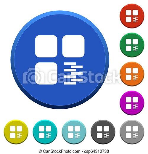Zip component beveled buttons - csp64310738