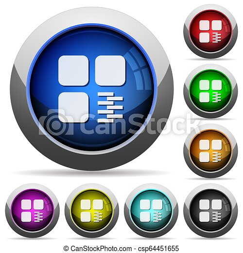 Zip component round glossy buttons - csp64451655