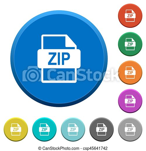 ZIP file format beveled buttons - csp45641742