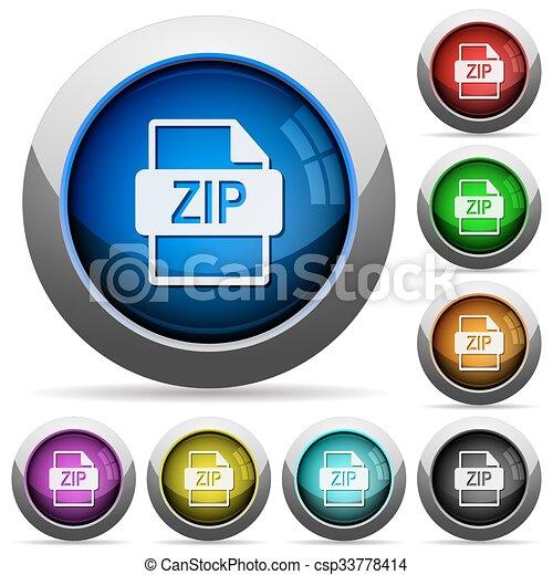 ZIP file format button set - csp33778414
