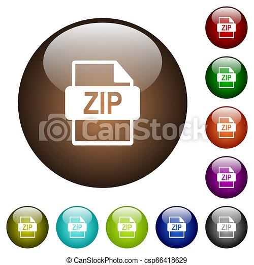 ZIP file format color glass buttons - csp66418629