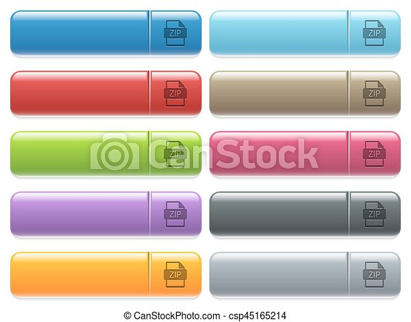 ZIP file format icons on color glossy, rectangular menu button - csp45165214