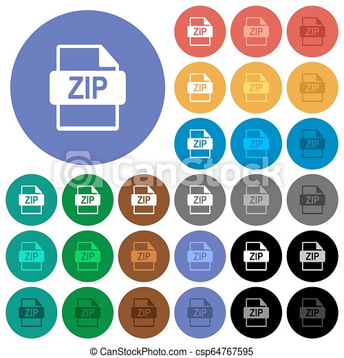 ZIP file format round flat multi colored icons - csp64767595