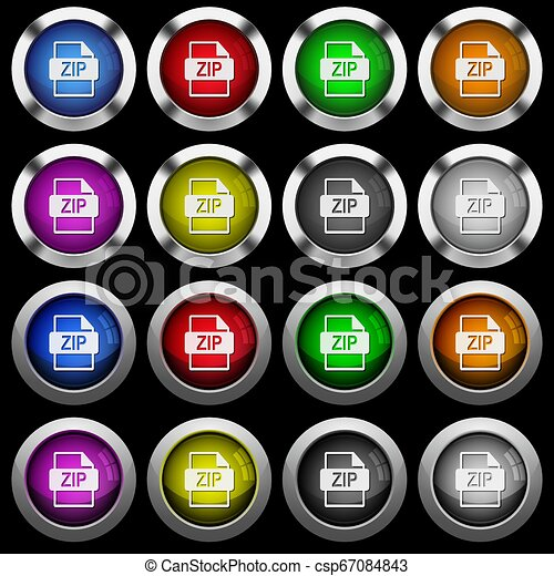 ZIP file format white icons in round glossy buttons on black background - csp67084843
