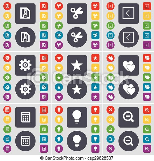 ZIP file, Scissors, Arrow left, Gear, Star, Heart, Calculator, Light bulb, Magnifying glass icon symbol. A large set of flat, colored buttons for your design. Vector - csp29828537