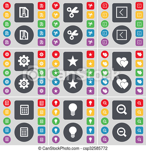 ZIP file, Scissors, Arrow left, Gear, Star, Heart, Calculator, Light bulb, Magnifying glass icon symbol. A large set of flat, colored buttons for your design. - csp32585772