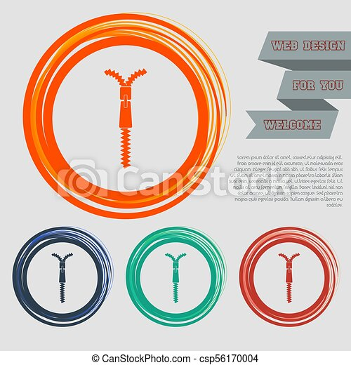 Zip icon on the red, blue, green, orange buttons for your website and design with space text. Vector - csp56170004