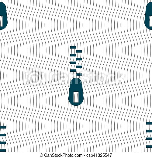 Zipper Icon sign. Seamless pattern with geometric texture. Vector - csp41325547