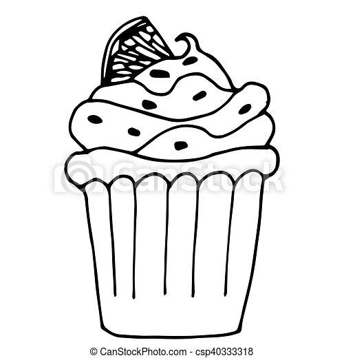 Zitrone Grobdarstellung Freigestellt Cupcake Orange Kuchen